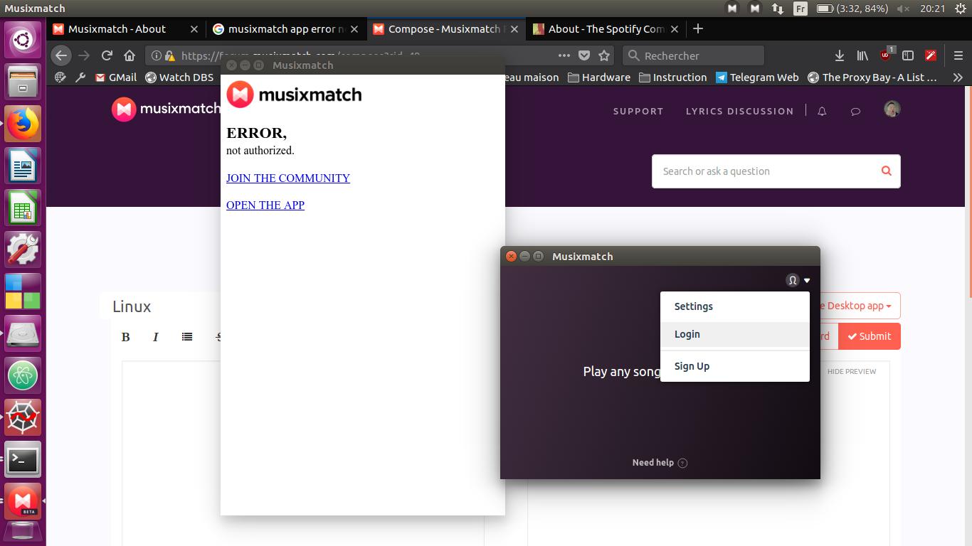 Can't login on Linux (under specific circumstances) - Musixmatch Forum